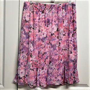 Alia Skirt Size 16P Pink Floral Print